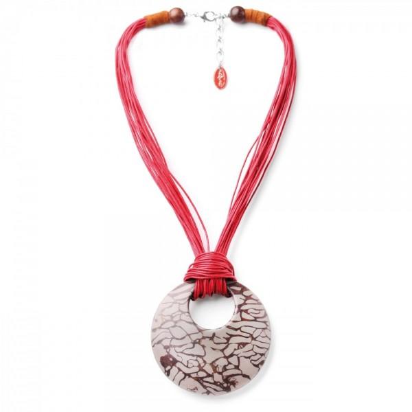 Rote Halskette mit feinen lederbändern Concret Jungle von Nature Bijoux