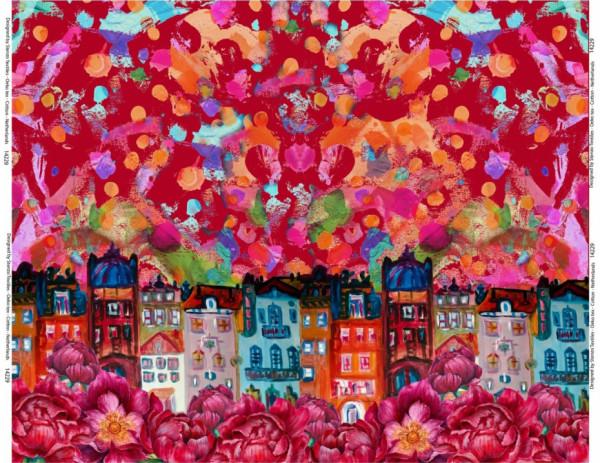 Jersey Altstadtblumenbordüre in rotbunt von Stenzo