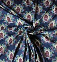 Baumwoll Jersey mit Ornamenten auf blauen Grund von Stenzo