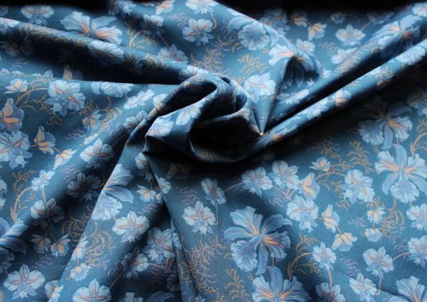 Bedruckte Baumwolle mit Blumenranken mit Rauchblauen Bumendruck