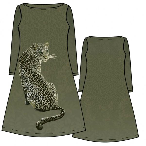 Stenzo Baumwoll Jersey Panel Leopard auf grün Farbenen Mustergrund