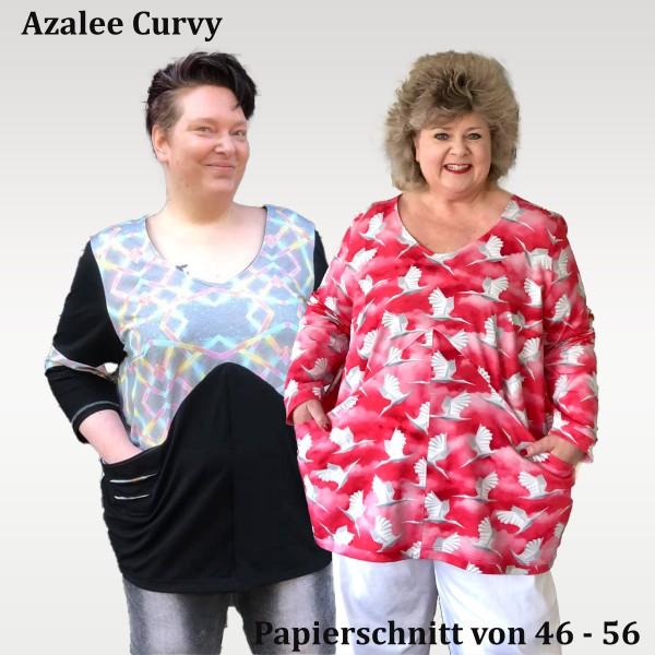 Curvy Ballonkleid- Tunika- Shirt- Cropped Schnittmuster Azalee mit großen Taschen als Papierschnitt