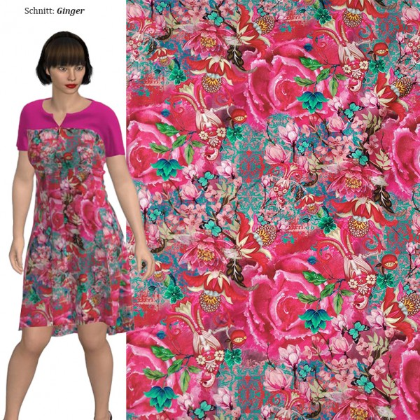 Stenzo Jersey Digitaldruck mit großen Blüten in Pink/Rosa/Rottönen