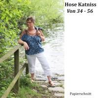 Katniss Papierschnittmuster für eine schmale Hose mit seitlichen Raffungen am Bein