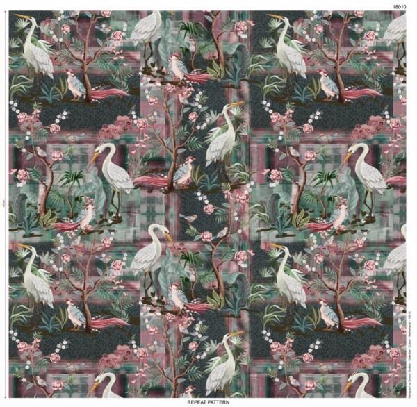 French Terry Baumwoll Digitaldruck Vögel und Ranken grün rosa weiß