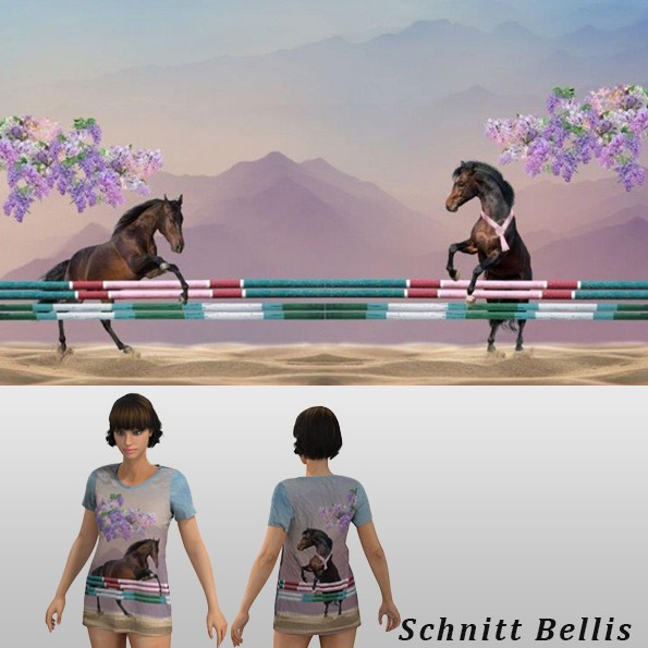 Stenzo Baumwoll Jersey Panel springende Pferde 120 x 150