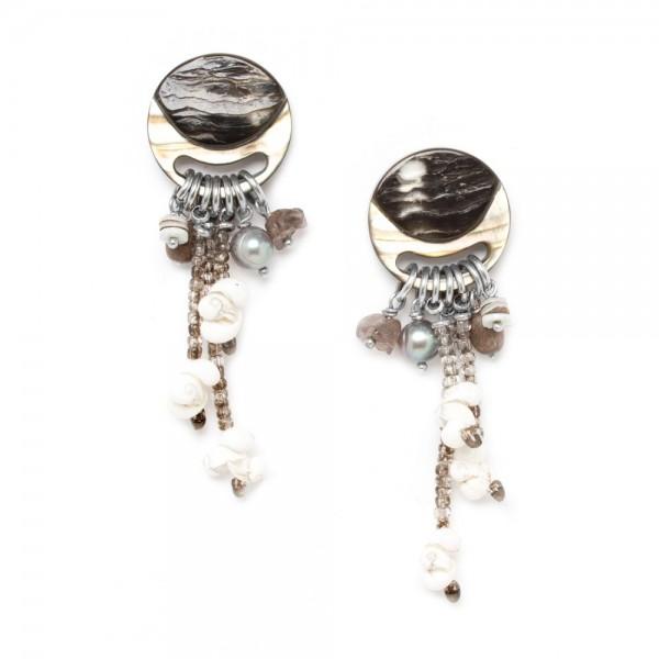 Silberne Ohrringe aus verschiedenen Muscheln Fifty Shade von Nature Bijoux