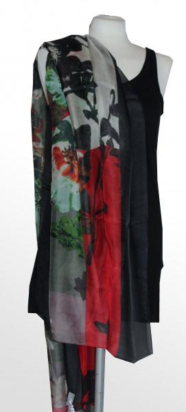 Seiden / Modal Schal in scharz, rot, gün und grau