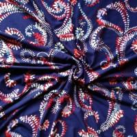 Stenzo Viscose Jersey weiß/rotes Ornamentenmuster auf blauem Grund