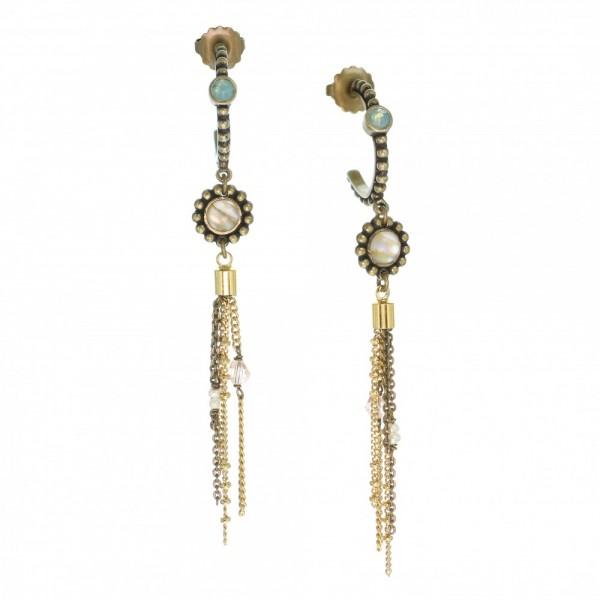 Ohrringe Madelene von Franck Herval in Bronze, Gold, Weiß und Türkis