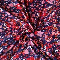 Stenzo Viscosejersey blau/rotes Blumenmuster