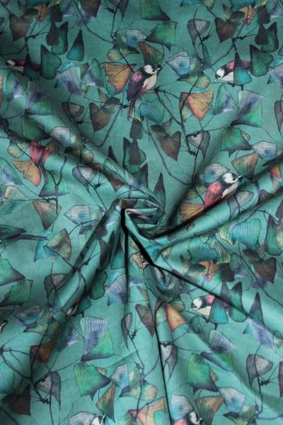 Bio Baumwoll Lawn Stoff - Ginkoblätter mit Vögel von C.Pauli
