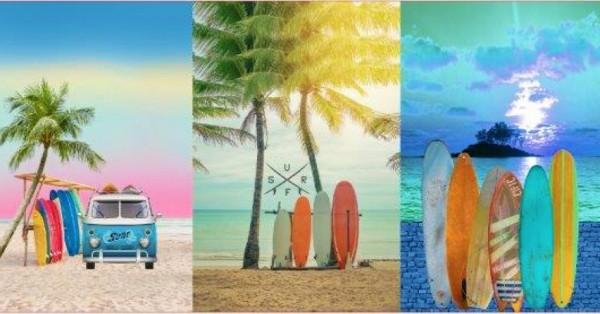 Stenzo Baumwoll Jersey Panel 3 Surfbilder 75 x 150cm