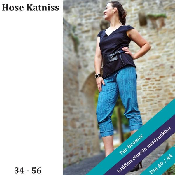 Katniss eBook für eine Hose mit Raffungen seitlich am Bein und am vorderen Taschenrand
