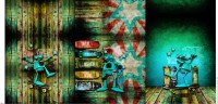 Stenzo Baumwoll- French Terry- Panel: Robby beim Skaten 75 x 150 cm