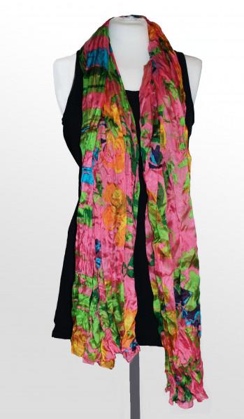 Pinker Seidenschal von Ahmaddy mit Blumen