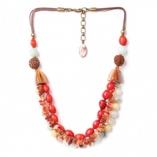 3 Reihige Halskette aus Leder und Natursteinen von Nature Bijoux