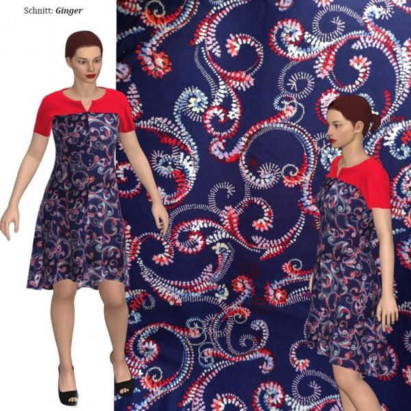 Stenzo Viscose Jersey blau/rotes Ornamentenmuster