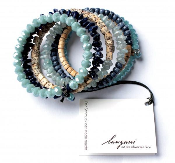Wickelarmband / Spiralarmband Lima in, blau und beigen Farben von Langani