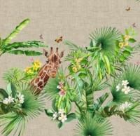 Stenzo Panel Giraffen unter Palmen auf einem Untergrund in Naturleinen- Optik