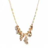 Halskette LEELOU in 2 Reihen von Franck Herval in Gold und Grünen Steinchen