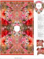 Stenzo Viole Baumwoll Kaftan rot - bunt im Blumenmuster