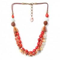 3 Reihige Halskette mit Natursteinen Bronze Verschluss