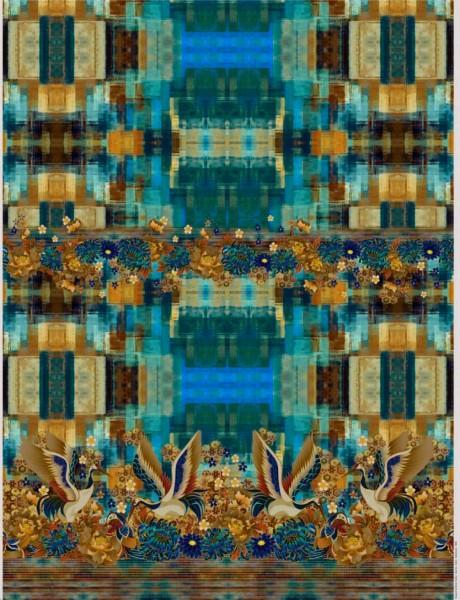 Baumwolljersey- Panel in Blau-Türkis-Braun mit einer Vogelbordüre
