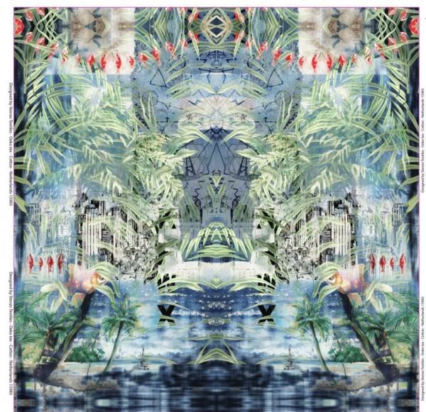 Stenzo Baumwolljersey- Panel Urlaubstraum in Pastelltönen im Asiastyle
