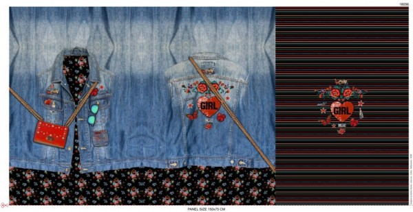 Witziges French Terry Jeansjacken- Panel 75 cm