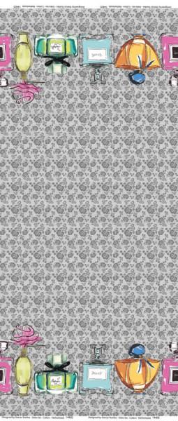 Grauer Baumwoll-Jersey-Bordüre mit Parfümflaschen Motiv von Stenzo