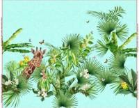 Stenzo Panel Giraffen unter Palmen auf einem mintfarbenen Untergrund in Naturleinen- Optik