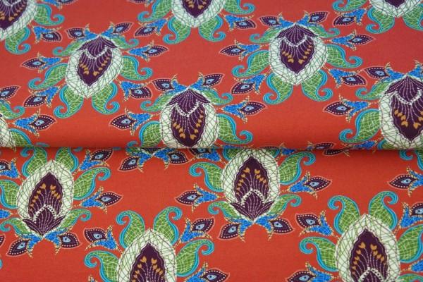 Baumwoll Jersey mit Ornamenten auf orangen Grund von Stenzo