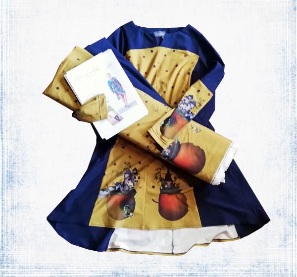 Nähpaket Ginger aus gold-ocker-farbigen Apfelmotiv-Bordüre von Stenzo