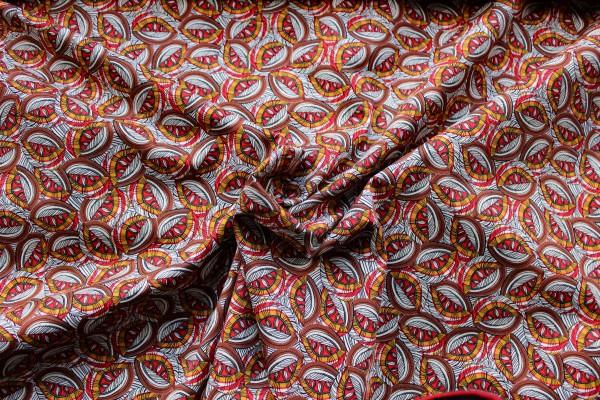 Bedruckte Baumwolle im Ethnostyle braun - natur - oragne - rot