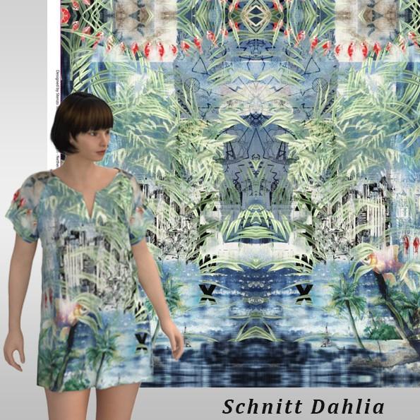 Stenzo Baumwoll Jersey Panel Urlaubstraum in Pastelltönen, Asiastyl