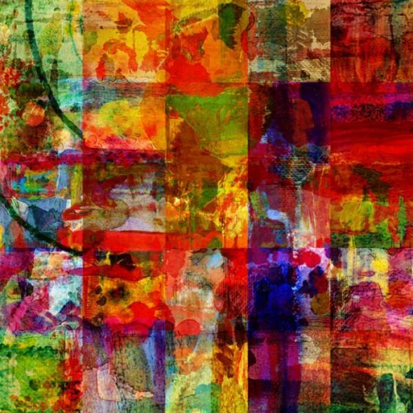 Stenzo Baumwoll Jersey Panel Farbbilder in Quadratur