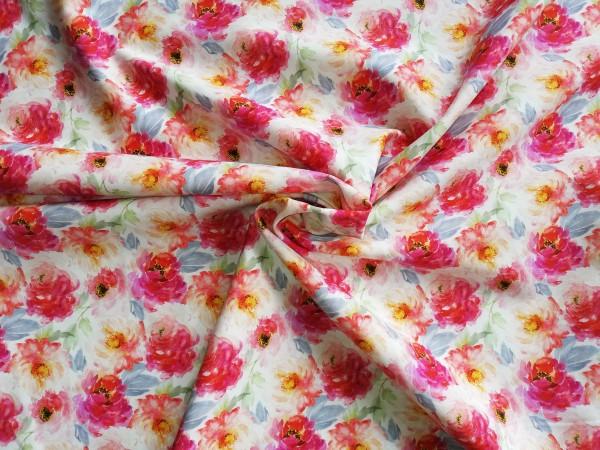 Baumwolldruck mit Blumenmotiv von Stenzo