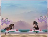 Stenzo- Panel Springende Pferde auf Baumwolljersey 120 cm