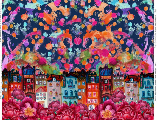 Jersey Altstadtblumenbordüre in blaubunt von Stenzo