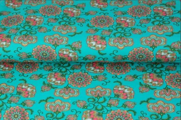 Baumwoll-Jersey-Stoff in türkis mit Blumendruck