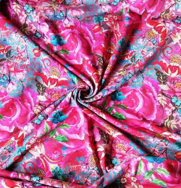 Stenzo Baumwoll Jersey Rosen Digitaldruck in Pink/Rosa/Rottönen