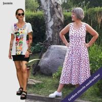 Bahnenkleid Schnitt Jasmin auch als Top Shirt Tunika Maxikleid von 32 - 56 als eBook