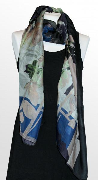 Seiden / Modal Schal von Ahmaddy in schwarz blau gemustert