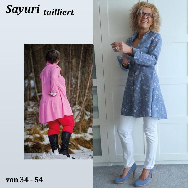 Sayuri eine tailliert Longbluse mit Wiener Nähten als Papierschnitt
