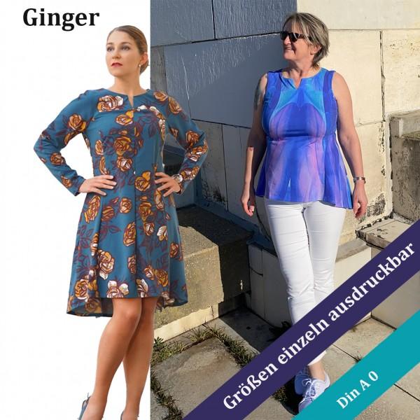 Kleider - Tunika Schnittmuster Ginger von 32 - 54 als eBook