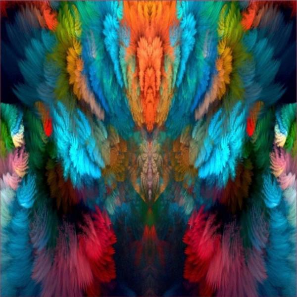 Stenzo Baumwoll Jersey Panel Farbenzauber in Symmetrie orange bunt