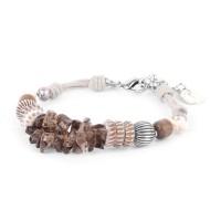 Armband in Silber mit Natursteinen und Kordel Fifty Shade von Nature Bijoux