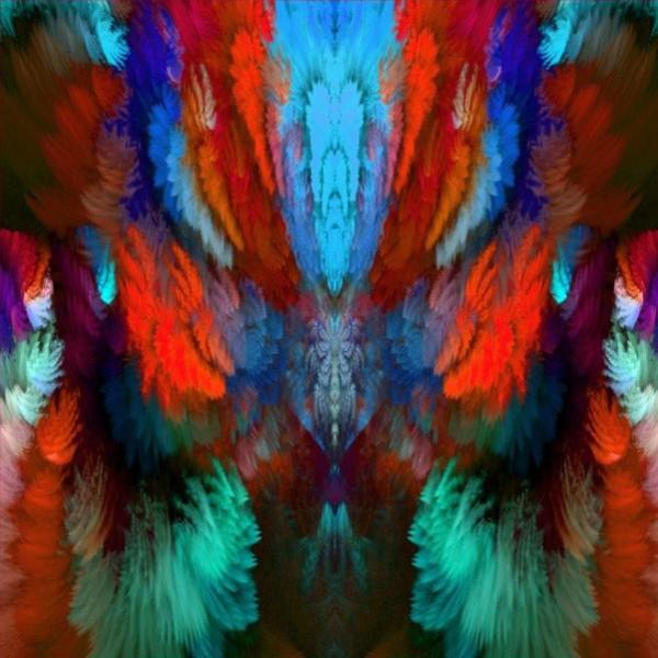 Stenzo Baumwoll Jersey Panel Farbenzauber in Symmetrie blau bunt