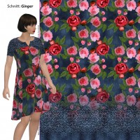 Stenzo Baumwoll Jersey Panel rote Rosen Jeansdoptik mit Leobordüre blau